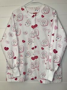 I Love Lucy Lab Coat Scrub Top Snaps LS Size M Hearts