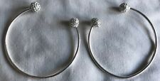 Womens Silver Diamante Bangles