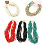 RED, WHITE, BLACK, TURQUOISE OR MULTI-COLOURED SEED  BEAD MULTI-STRAND NECKLACE