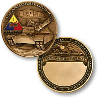 """NEW 1st Armored Division — """"Old Ironsides"""" Challenge Coin. 60722."""