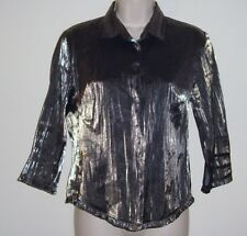 """Maxi Silvery Gray Button Down Blouse Size Small  Bust 32""""  Length 22 1/2"""""""