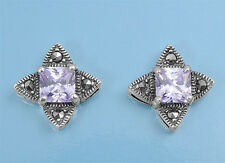 Lavender Flower Earrings with Marcasite Sterling Silver 925 Jewelry Gift 15 mm