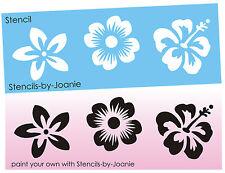 """Joanie Stencil Aloha 3"""" Flower Hawaii Hibiscus Plumeria Tropical Sand Surf Beach"""