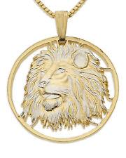 """Lion Head  Pendant & Necklace.Medallion Hand cut. 1-1/4"""" diameter ( # 749 )"""