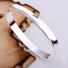 Wholesale Solid Silver Jewelry 1837 Smooth Circle Men Women Bracelet Bangle B026