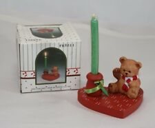 Teddy Bear on Heart Candle Holder Country Decoration Knick Knack