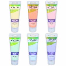 SET OF 6 PASTEL ACRYLIC PAINT TUBES Squeeze 75ml Art/Craft Canvas Painting