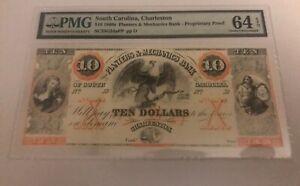 Charleston , South Carolina,  $10  1860' s Planters mechanics bank , PMG 64