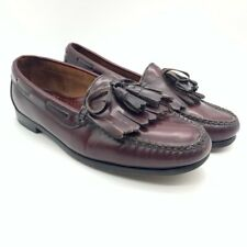 Cole Haan Mens Kiltie Tassel Loafer Shoes Red Moc Toe Low Top Slip Ons 10 D