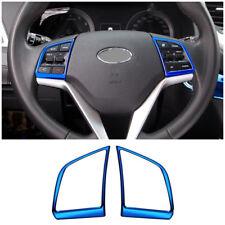 stainless steel Steering Wheel Trim cover 2pcs For Hyundai Tucson 2016-2018 Blue