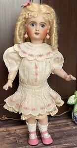 "28cm Boneka Embroidered Batiste Drop Waist Dress 4 11"" Antique Bleuette Doll"