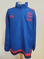 E717 MENS ADIDAS MANCHESTER UNITED BLUE RED FOOTBALL LIGHTWEIGHT JACKET UK XL