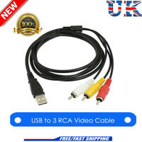 3 RCA to USB Aux Audio Video Adapter AV Converter Cable Cord Link For TV/Mac/PC