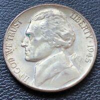 USA 1945 S Jefferson War Nickel 5 Cent Selten Silber UNC #26991