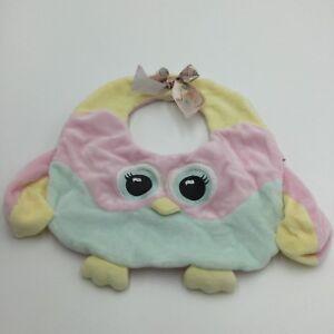 Bearington Baby Pastel Owl Baby Bib Pink Yellow