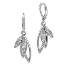 SilberDream Ohrringe Damen 925 Silber Ohrhänger Blätter Zirkonia weiß SDO4287W