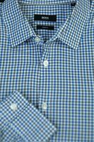 Hugo Boss Men's Blue White Gray Check Linen Cotton Casual Shirt XL XLarge