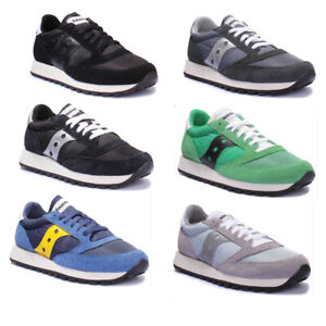 Saucony Jazz Original Mens Suede Blue and Silver Fabric Trainers UK Size 3 - 12
