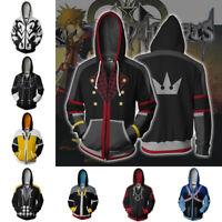 Kingdom Hearts Hoodie 3D Printed Sweatshirt Zipper Hooded Casual Jacket Coat Top