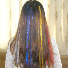 1 pack Spiral Rainbow Hair Tinsel Silk Bling For Hair Extensions Sparkly Pop*