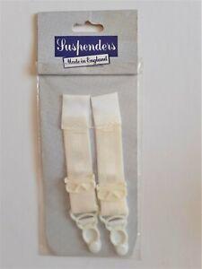 Pair White Sew on suspender strap garter clip on Original vintage