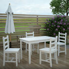 White Wooden Dining Table & 4 Chairs Set Home Kitchen / Outdoor Garden Furniture