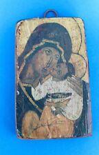 kleine Antike Heiligen Ikone handgemalt auf Holz 12,1x7,4 cm