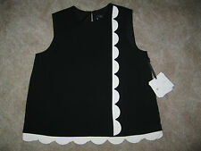 Victoria Beckham for Target XL black twill tank with asymmetric white scallop