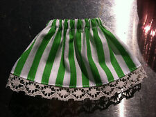 ELF CLOTHES Green & White Stripe St. Patrick's Day Elf Skirt Lace on the Hem