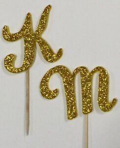 Gold Glitter Monogram Letter Initial Birthday Wedding Cupcake Topper Pick Favor