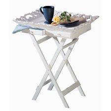 Elegant Foldable White Wood Tray Stand