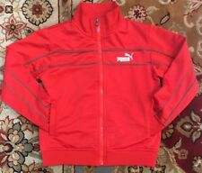 PUMA BOYS SIZE SMALL Red/ Grey ZIP-UP SWEATER W/ 2 FRONT POCKETS