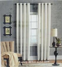 "Veratex Brooklyn 84"" Linen Grommet Window Curtain Panel in White"