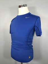 Nike Pro Combat S Small Athletic Solid Blue Gray Logo Short Sleeve