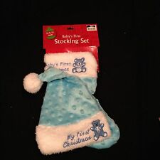 NEW BABY'S FIRST CHRISTMAS STOCKING AND HAT SET BOYS BLUE TEDDY BEAR NWT