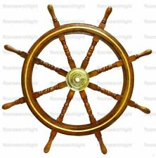 """Nautical 36"""" Wooden Ship Wheel Steering Brass Ring Wall Antique Vintage Decor"""