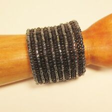 "2 1/2"" Wide Black Hematite Handmade Boho Beaded Bali Cuff Statement Bracelet"