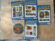 5 Fabric Applique Kits NIP Iron on, Quilt, Shirt, Crafts Country Patchwork