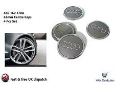 Audi Alloy Wheel Centre Caps x4 69mm Grey 4B0 601 170A -A1 2 3 4 5 6 7 8 Q RS TT