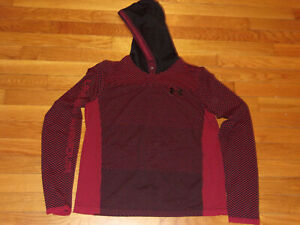 UNDER ARMOUR RED/BLACK LONG SLEEVE LIGHTWEIGHT HOODIE BOYS XL EXCELLENT