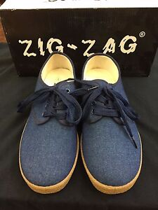 Zig Zag Wino Shoes-NEW-Blue Denim* Brown Sole* Lace Up-