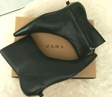 NEW Zara Genuine Leather Ankle Boots Low Heel NWT Size 6