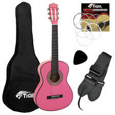 More details for tiger 3/4 size childrens classical guitar pack with gig bag, strap & picks- pink