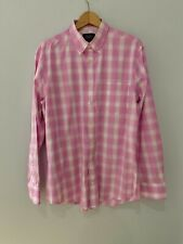 """Men's Pink White Checked Shirt Size Large 16"""" Slim Fit Cotton, Charles Trywhitt"""