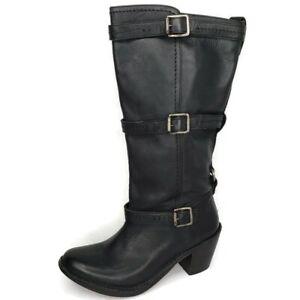 FRYE 77852 Carmen Black Leather 3 Straps Moto Biker Tall Boots Womens Size 7.5 B