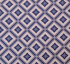 "1 yd 25"" Blue Moon Studio 8 Quilting Treasures Royal Blue & White Floral Lattice"