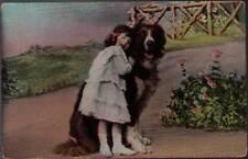 (tz5) Postcard: Girl with Dog