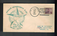 1933 USA NAVY USS Texas Battleship Admission to Union Day Cover