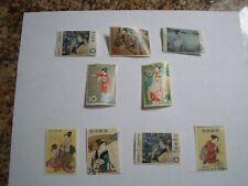 5 mint/4 used Japanese Stamp Week stamps