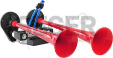 12V/24V Melody 2 Red Trumpets Air Horn HGV Truck Lorry Boat Marine Train Offroad